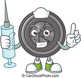 Smiley Nurse camera lens cartoon character with a syringe