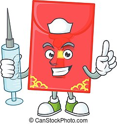 Smiley Nurse chinese envelope cartoon character with a syringe