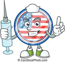 Smiley Nurse circle badges USA cartoon character with a syringe