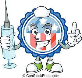 Smiley Nurse circle badges USA with star cartoon character with a syringe