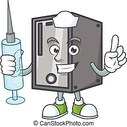 Smiley Nurse CPU cartoon character with a syringe