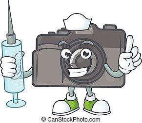 Smiley Nurse digital camera cartoon character with a syringe