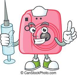 Smiley Nurse instan camera cartoon character with a syringe