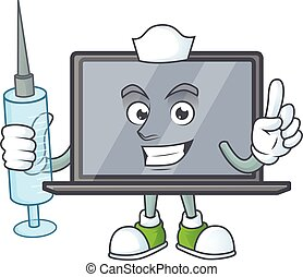 Smiley Nurse monitor cartoon character with a syringe
