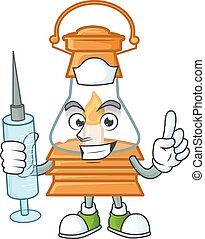 Smiley Nurse oil lamp cartoon character with a syringe
