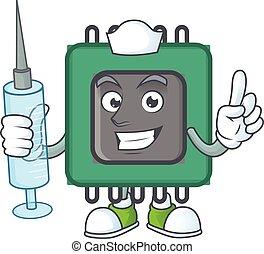 Smiley Nurse RAM cartoon character with a syringe