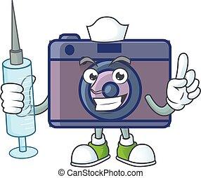 Smiley Nurse retro camera cartoon character with a syringe