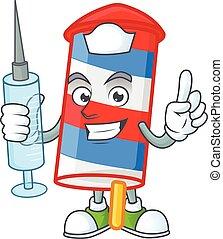 Smiley Nurse rocket USA stripes cartoon character with a syringe