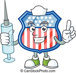 Smiley Nurse shield badges USA cartoon character with a syringe
