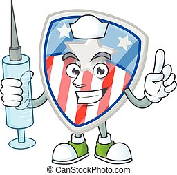 Smiley Nurse shield badges USA with star cartoon character with a syringe