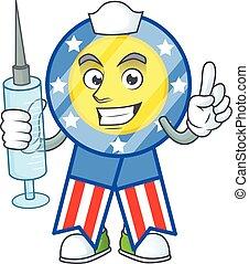 Smiley Nurse USA medal cartoon character with a syringe