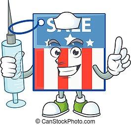 Smiley Nurse USA price tag cartoon character with a syringe