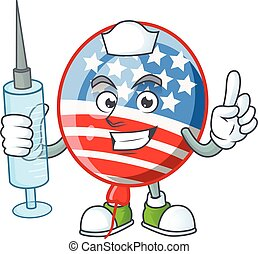 Smiley Nurse USA stripes balloon cartoon character with a syringe