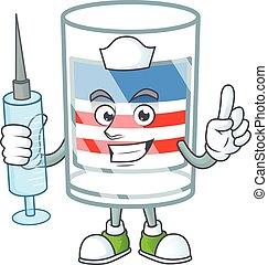 Smiley Nurse USA stripes glass cartoon character with a syringe