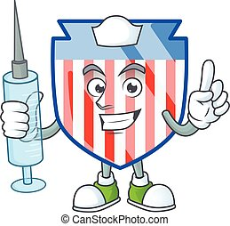 Smiley Nurse USA stripes shield cartoon character with a syringe