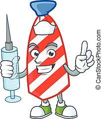 Smiley Nurse USA stripes tie cartoon character with a syringe