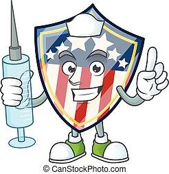 Smiley Nurse vintage shield badges USA cartoon character with a syringe