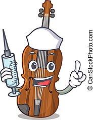 Smiley Nurse violin cartoon character with a syringe