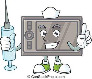 Smiley Nurse wacom cartoon character with a syringe