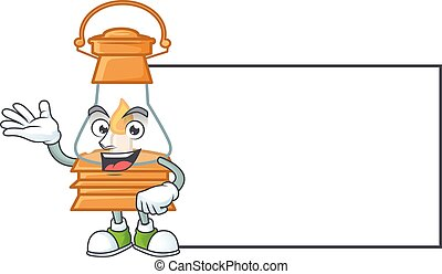 Smiley oil lamp with whiteboard cartoon character design