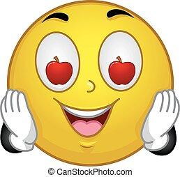 smiley, olho, maçã, ilustração, mascote