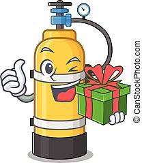 Smiley oxygen cylinder character with gift box