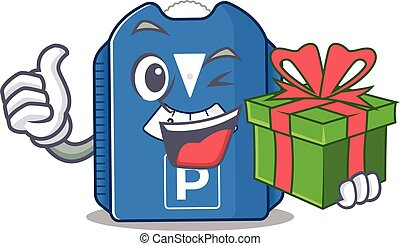 Smiley parking disc character with gift box