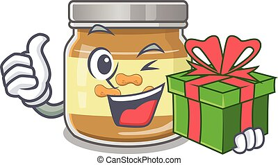 Smiley peanut butter character with gift box
