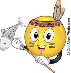 smiley, pez, caza, ilustración, indio, mascota