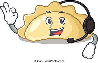 Smiley pierogi cartoon character design wearing headphone. Vector illustration