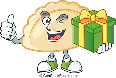 Smiley pierogi cartoon character with gift box. Vector illustration