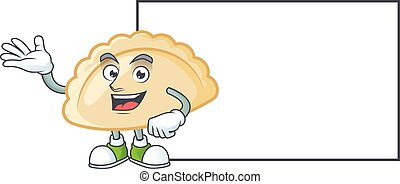 Smiley pierogi with whiteboard cartoon character design. Vector illustration