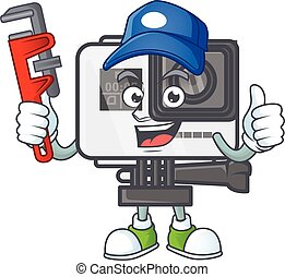 Smiley Plumber action camera on mascot picture style
