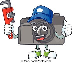 Smiley Plumber digital camera on mascot picture style