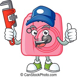 Smiley Plumber instan camera on mascot picture style