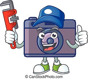 Smiley Plumber retro camera on mascot picture style