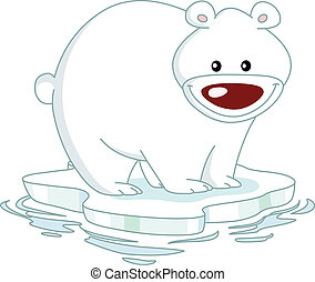 Polar bear - Smiley Polar bear standing on an ice floe