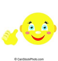 smiley, pouces, gesture., haut