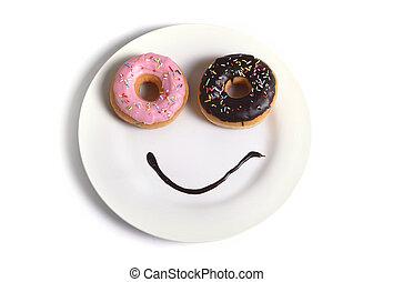smiley, rosto feliz, feito, ligado, prato, com, donuts, olhos, e, chocolate, xarope, como, sorrizo, em, açúcar, e, doce, vício, nutrição