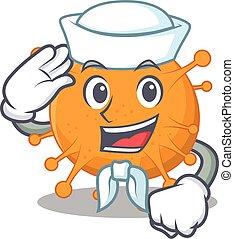 Smiley sailor cartoon character of anaplasma wearing white ...