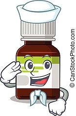 Smiley sailor cartoon character of antibiotic bottle wearing...