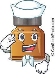 Smiley sailor cartoon character of bottle vitamin b wearing ...