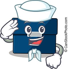 Smiley sailor cartoon character of business suitcase wearing...