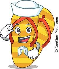 Smiley sailor cartoon character of flip flops wearing white ...