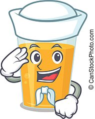 Smiley sailor cartoon character of glass of orange juice ...