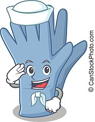 Smiley sailor cartoon character of medical gloves wearing ...