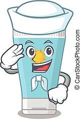Smiley sailor cartoon character of sunblock cream wearing ...