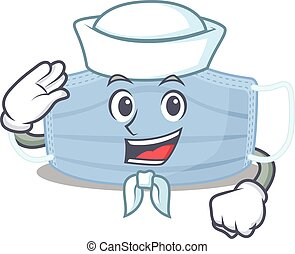Smiley sailor cartoon character of surgical mask wearing ...
