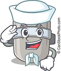 Smiley sailor cartoon character of welding mask wearing ...