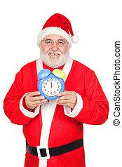 Smiley Santa Claus with alarm clock